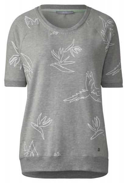 CECIL - Sportives Vogel Print Shirt in Mineral Grey Melange