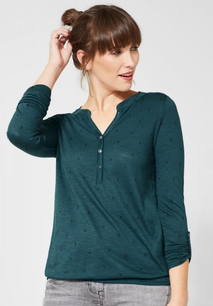 CECIL - Shirt mit Muster in Deep Atlantic Green