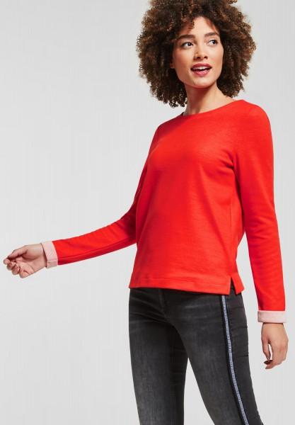 Street One - Shirt mit Kontrastdetail in Hot Orange