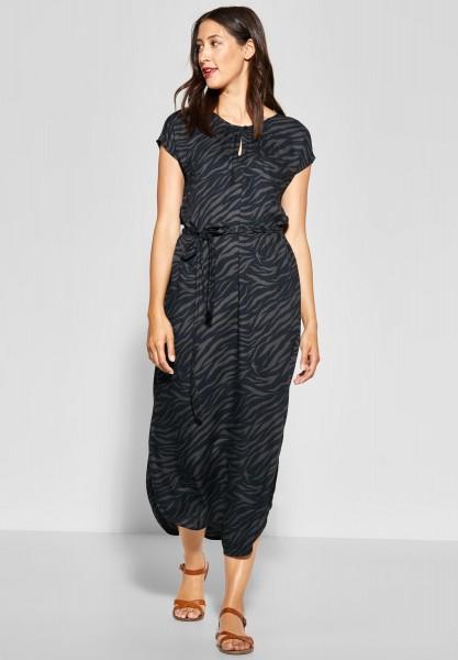 Street One - Langes Zebra Print Kleid in Neo Grey