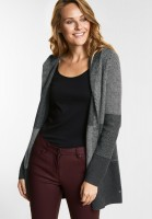 CECIL Strickjacke im Hoodie-Style in Graphite Grey Melange