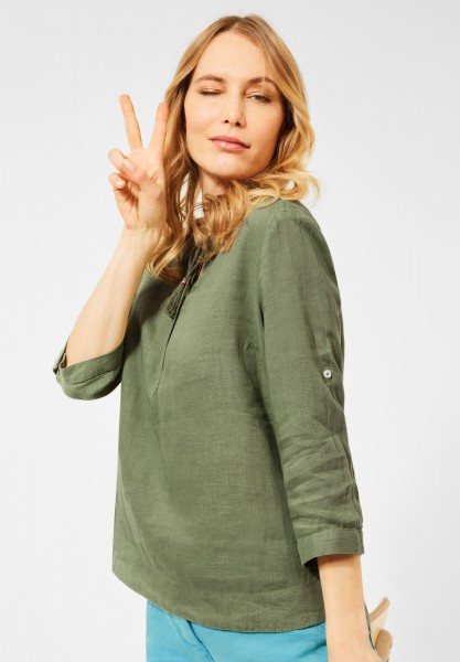 CECIL - Leinen Bluse in Unifarbe in Green Herbs