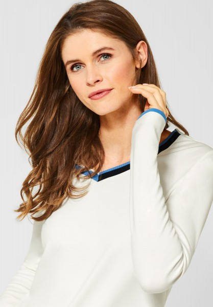 CECIL - Shirt mit Kontrastdetails in Pure Off White
