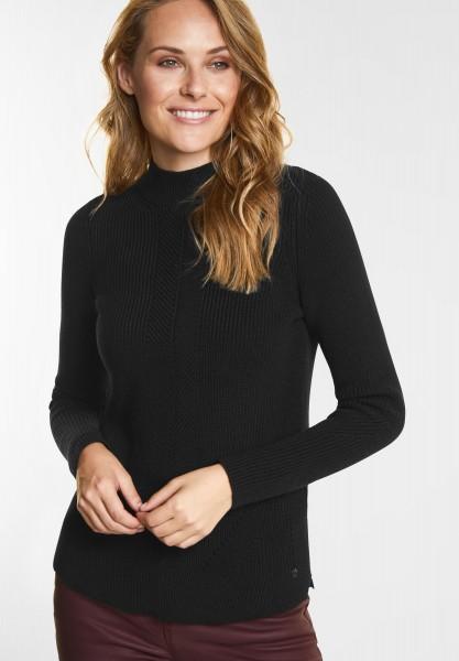 CECIL - Pullover mit Ripp-Struktur in Black