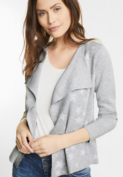 Street One - Strickjacke mit Sternen in Cyber Grey Melange