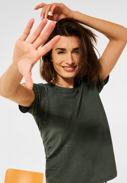 CECIL - T-Shirt mit Raffungen in Utility Olive