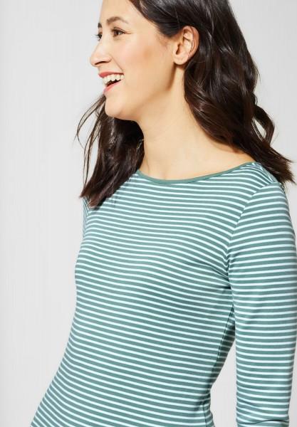 Street One - Basic Shirt mit Streifen in Thyme Jade