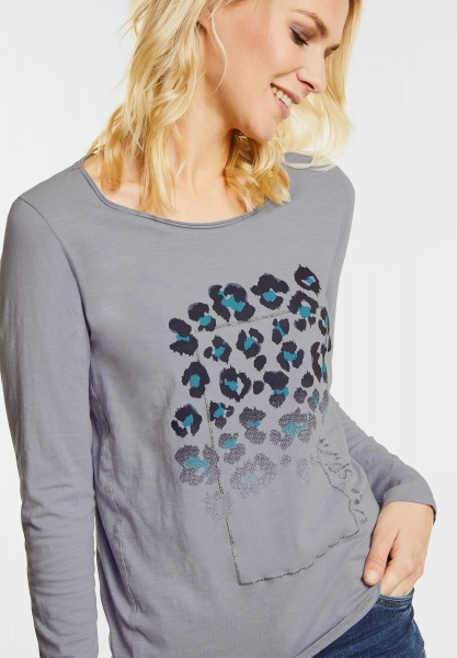 CECIL - Shirt mit Animal Frontprint in Silver Grey