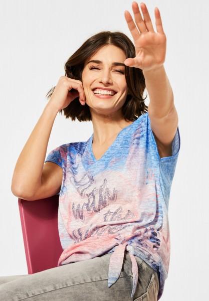 CECIL - T-Shirt mit Burn-Out Effekt in Provence Blue