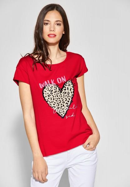 Street One - Shirt mit Wording und Print in Vivid Red