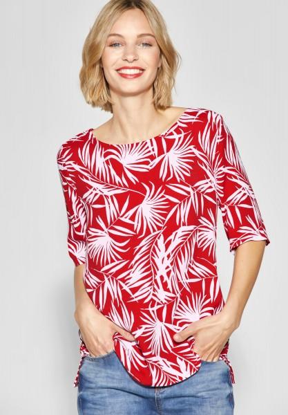Street One - Lockeres Palmenprint Shirt in Vivid Red