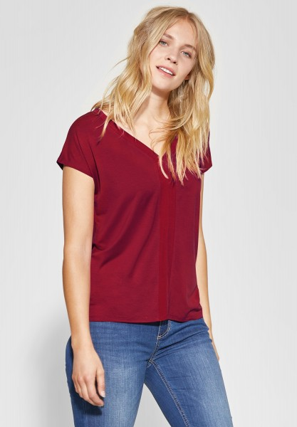 Street One - Shirt mit Cupro-Detail in Wine Red