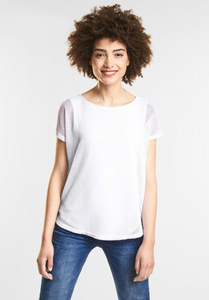 Street One - Shirt in Netzoptik in White