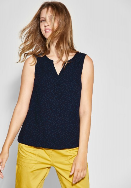 CECIL - Top mit Minimal-Print in Deep Blue