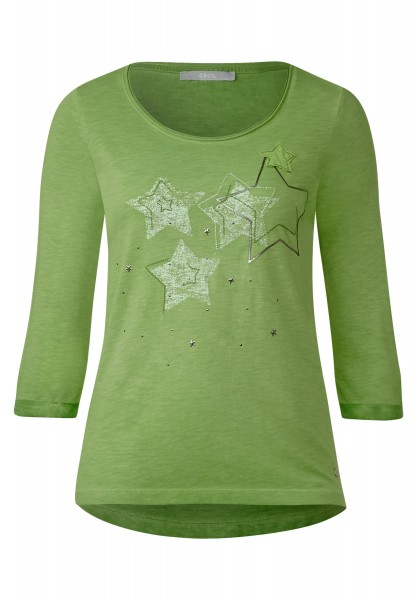 CECIL - 3/4-Arm Shirt mit Sternen in Matcha Tea Green