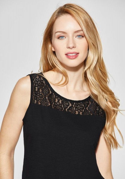 Street One - Ärmelloses Shirt mit Spitze in Black