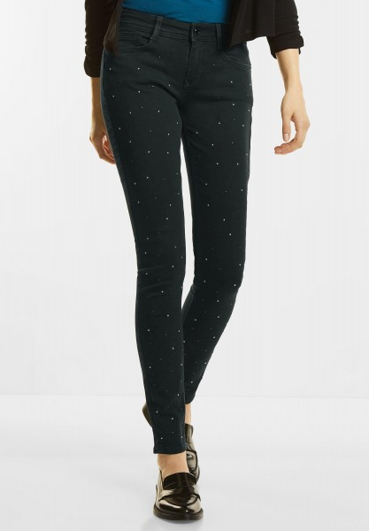 Street One - Slim Denim mit Nieten York in Black Denim Decorated