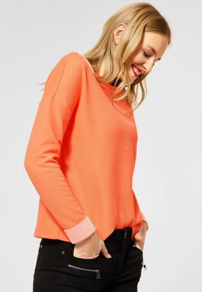 Street One - Shirt mit Doubleface-Optik in Strong Mandarine