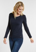 CECIL - Organic Baumwoll Shirt Pia in Deep Blue
