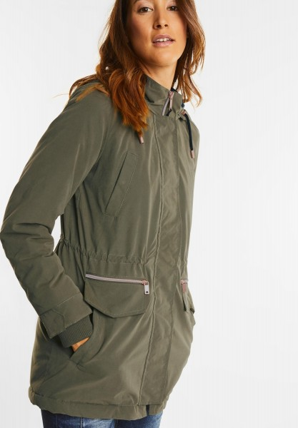 Street One - Weicher Parka mit Samtfutter in Soil Green