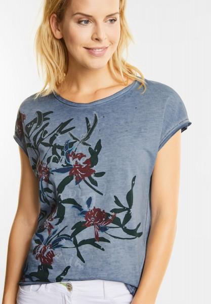 CECIL - Shirt mit tropischen Blüten in Deep Blue