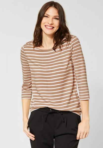 Street One - Shirt Helen mit Streifen in Easy Camel