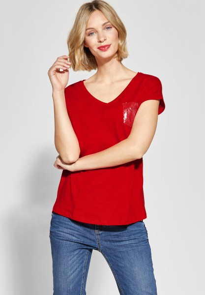 Street One - Jersey Shirt mit Pailletten in Vivid Red