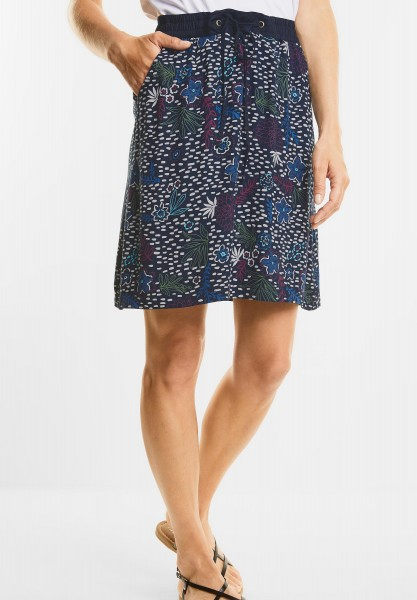 CECIL - Weicher Blütenprint Rock in Deep Blue