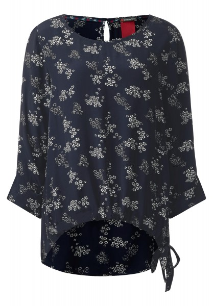 Street One - Printbluse mit Knoten Pam in Night Blue
