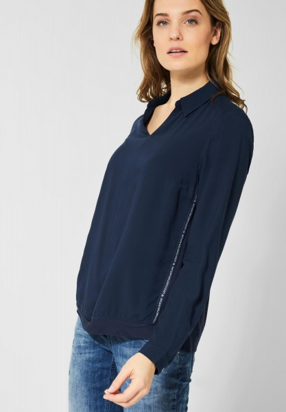 CECIL - Unifarbene Bluse mit Galon in Deep Blue