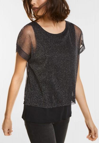 Street One - Glitzerndes Layering Shirt in Black