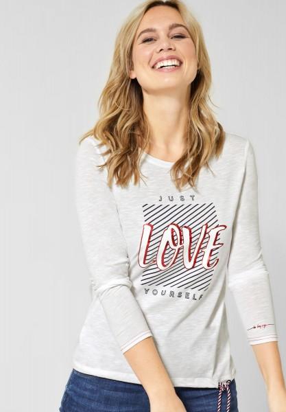 CECIL - Shirt mit Aufdruck in Pure Off White