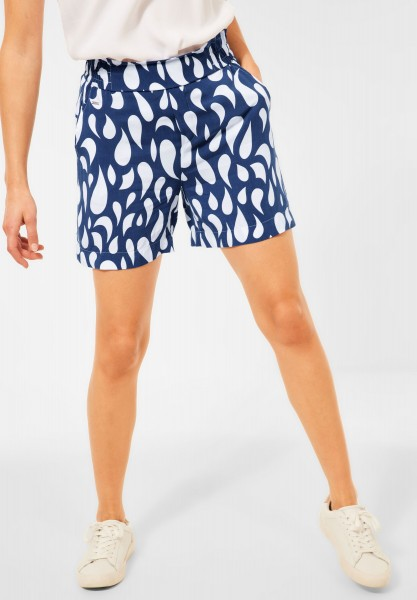 Street One - Loose Fit Shorts mit Print in Foggy Blue