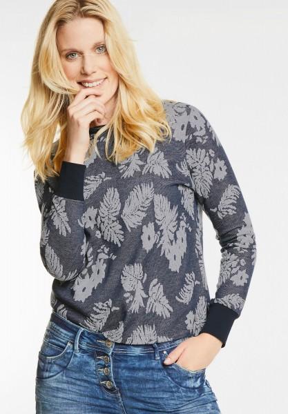 CECIL - Florales Jacquard Sweatshirt in Deep Blue