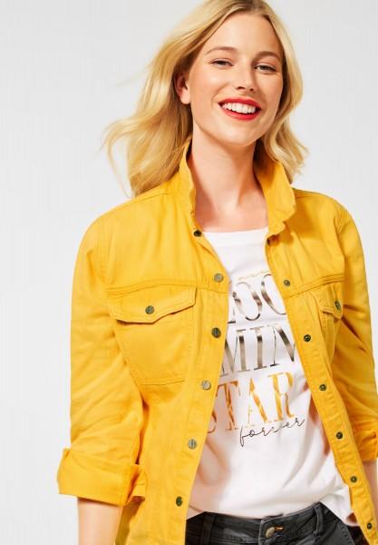 Overshirt in Denim Optik in Bright Sulphur Yellow Washed