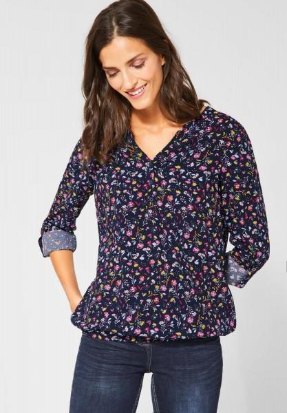 CECIL - Bluse mit Blumenmuster in Deep Blue