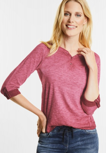 CECIL - Washed Look Longsleeve Xenia in Cranberry Red