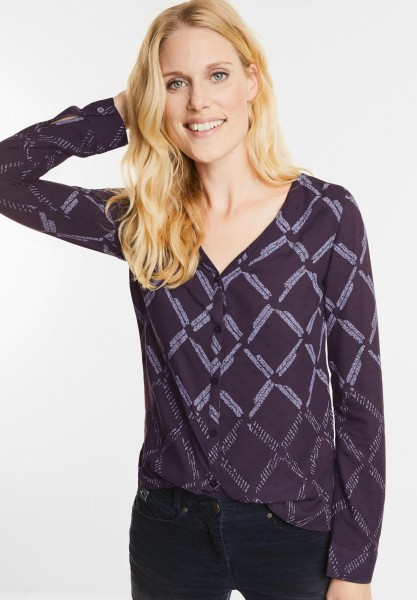 CECIL - Bluse mit Rautenprint in Dark Purple