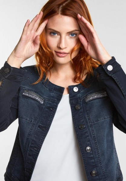 Street One - Verzierte Jeansjacke in Black Blue Elegant Wash