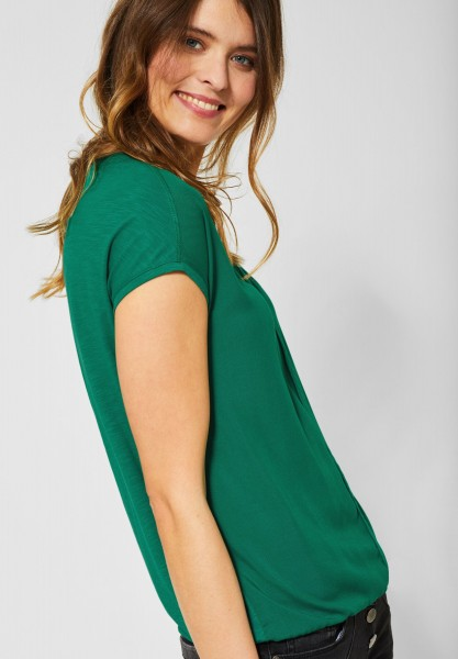 CECIL - Unifarbenes Shirt Indra in Lucky Clover Green