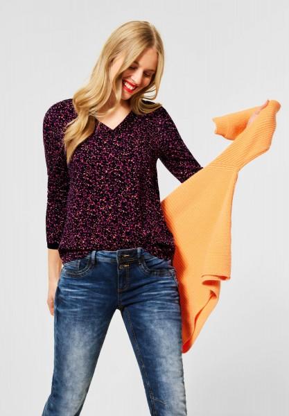 Street One - Langarmshirt mit Muster in Phlox Pink