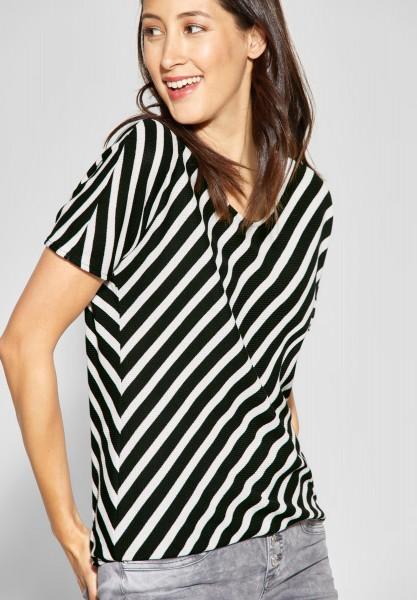 Street One - Shirt mit Streifen-Print in Black