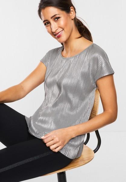 Street One - Schimmerndes Plissee-Shirt in Lunar Grey