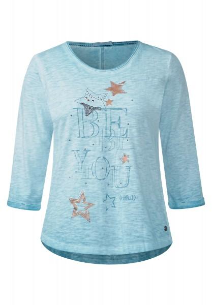 CECIL - Shirt mit Sternenprint Glazed Neptune Blue