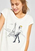 Street One - Shirt mit Paris Print in Off White