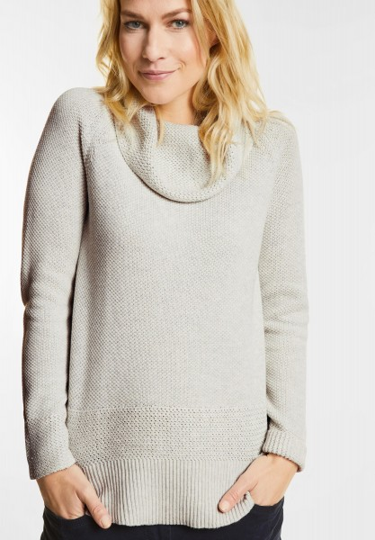 CECIL - Pullover mit Volumenkragen in Off White Melange