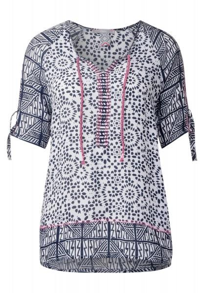 CECIL - Tunika Style Printmix Bluse in Deep Blue