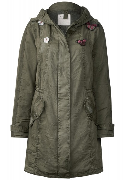 Street One - Washed Cotton Parka Lara in Soil Green