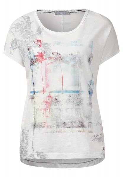 CECIL - T-Shirt mit Beachprint Pure Off White