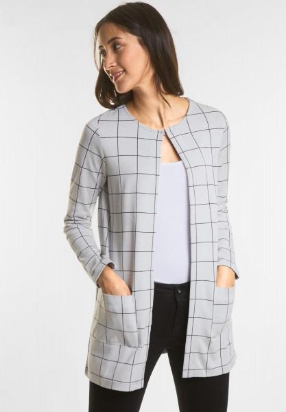 Street One Karierte Open-Style Jacke in Moon Grey Melange
